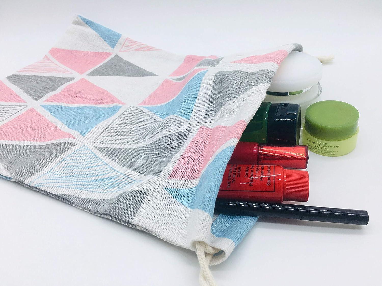 3PCS Cotton Linen Printed Dustproof Drawstring Home Kitchen Grocery Storage Bags