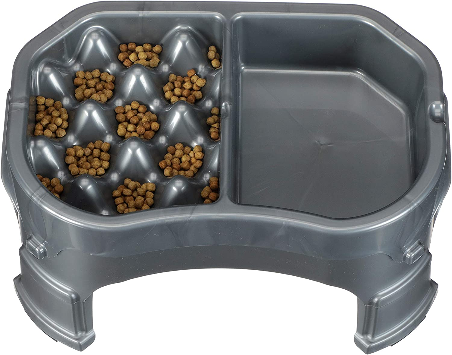 Neater Pet Brands – Neater Raised Slow Feeder Dog Bowl – Elevated and Adjustable Food Height - (Double Diner, Gunmetal)