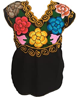 Tabik Floral Embroidered Mexican Peasant Blouse For Women Girls