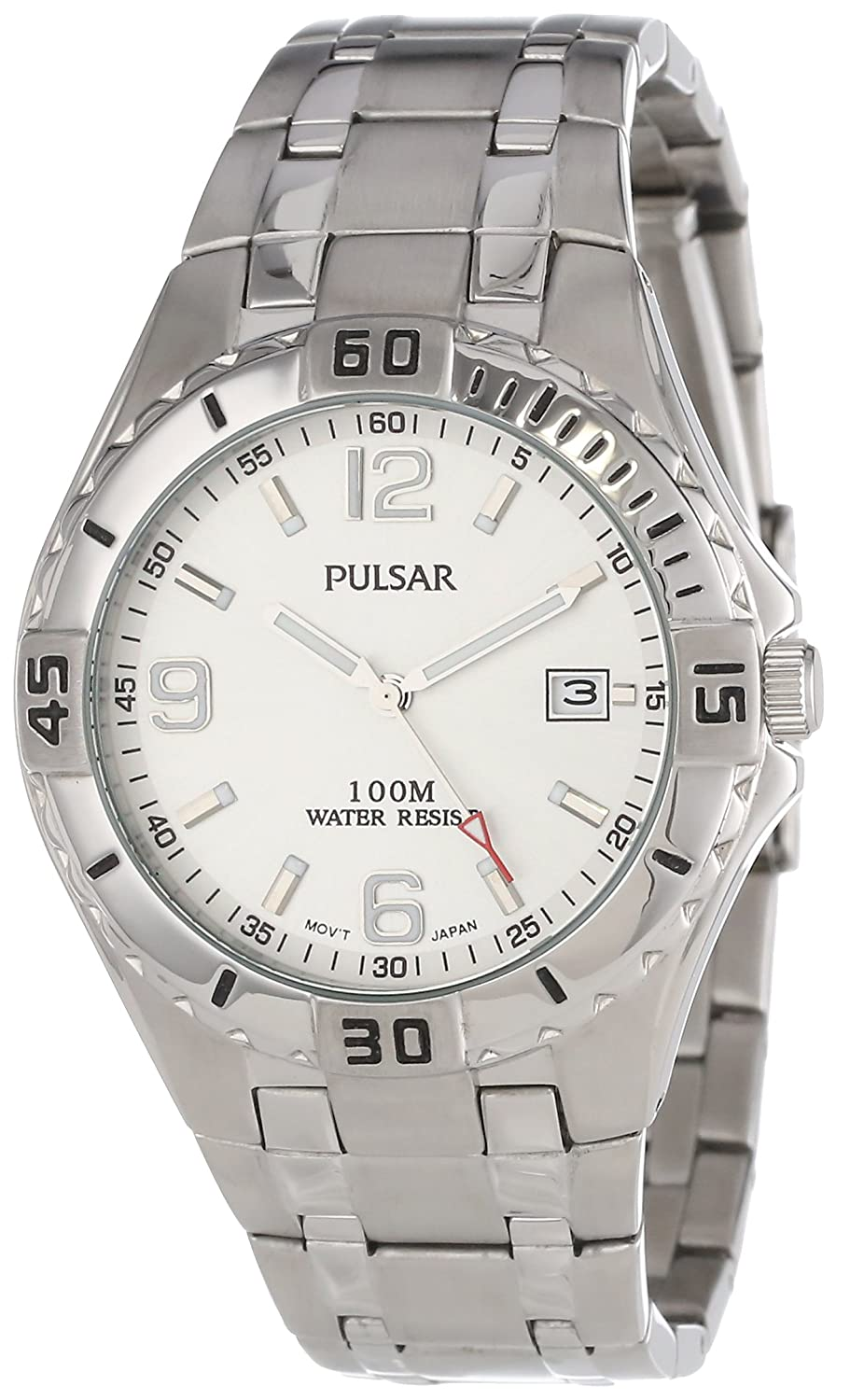 Pulsar Men s PXH705 Sport Stainless Steel Silver Dial Watch