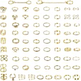 YADOCA 76 Pcs Simple Knuckle Rings for Women Vintage Stackable Midi Finger Rings Set Gold Tone