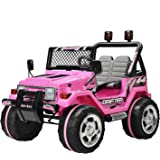 Uenjoy Kids Ride on Car 12V Electric Car for Kids with Remote Control/ 3 Speeds/ Leather Seat/ Head Lights Model HP-011 Pink