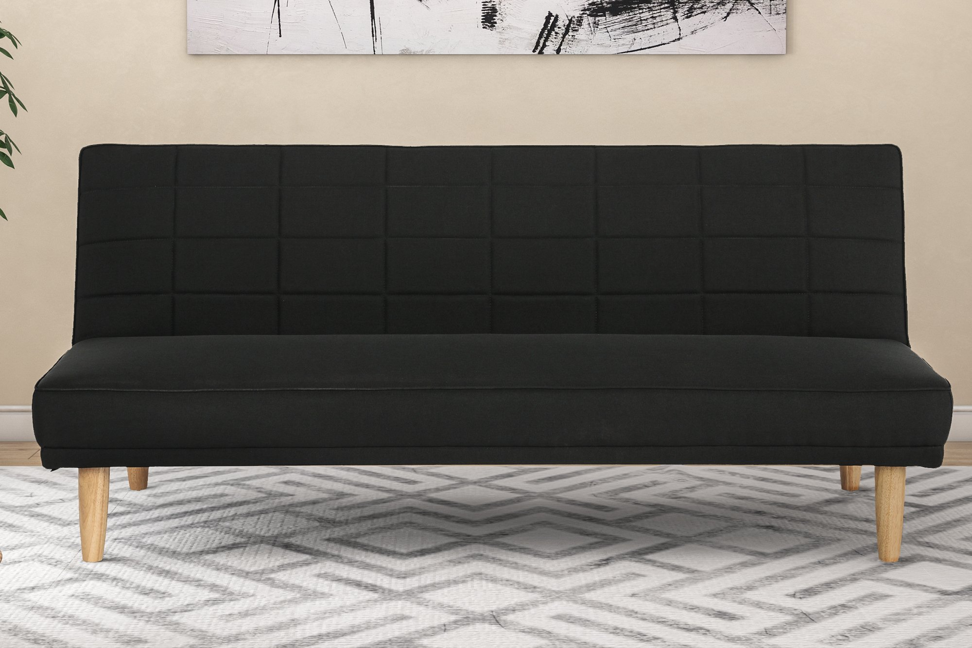 DHP Estera Sofa Sleeper Futon, Rich Black Linen Upholstery With Natural Wooden Legs