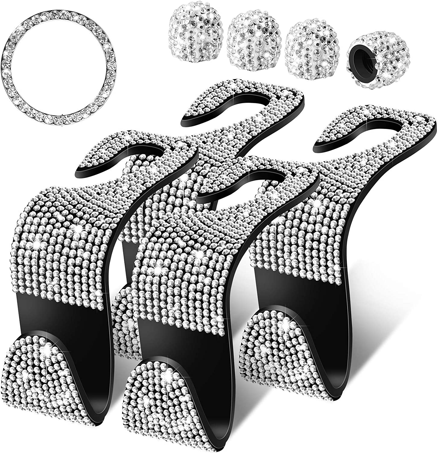 4 Pieces Bling Car Seat Hooks Crystal Car Accessories Hooks Start Button Ring Decal and 4 Pieces Rhinestone Valve Stem Caps for Vehicle Car Application