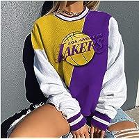YUEN Sudadera de baloncesto 2020 con estampado de los Lakers Champion casual, suelta de manga larga, para mujer, estilo…