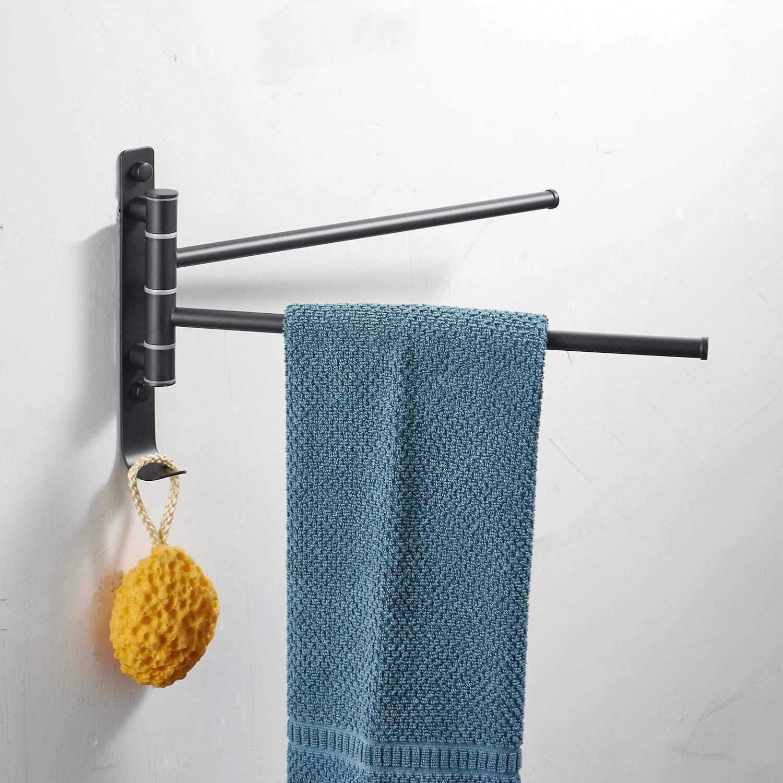 Porte serviette Mural avec 3 Barres Pivotant pour Salle de Bain, Noir, SUS 304 Acier Inoxydable, 35 x 24CM Heqisheng