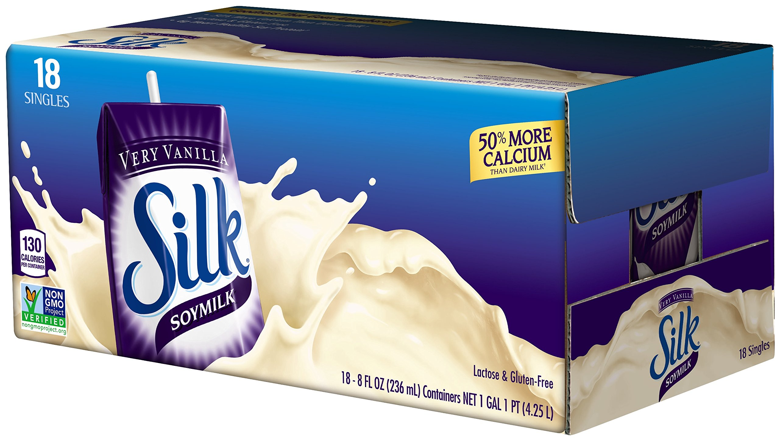 Silk Very Vanilla Soymilk Natural, 8-Ounce Containers (Pack of 18)