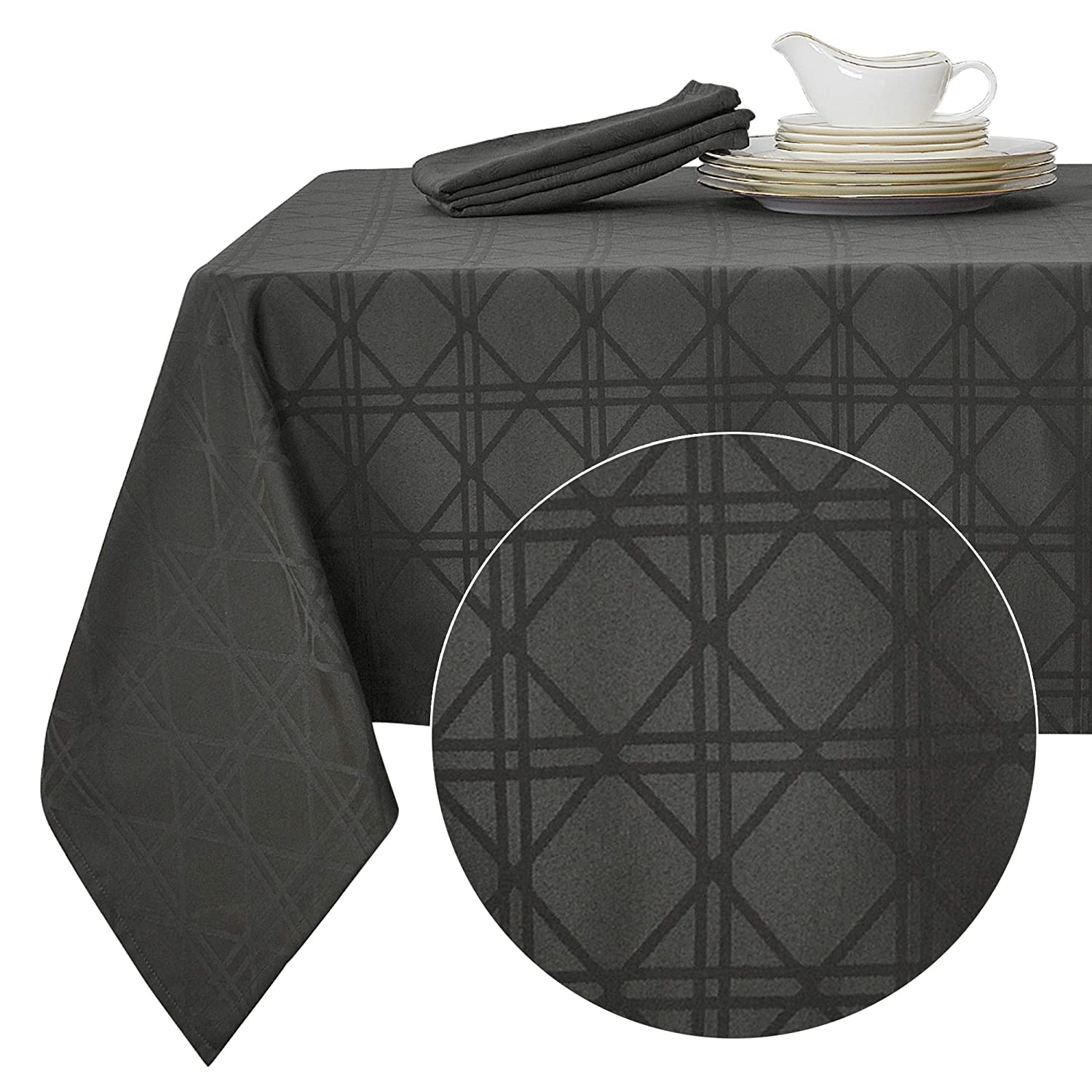 Deconovo Decorative Jacquard Rectangle Tablecloth with Geometric Patterns Wrinkle Resistant and Waterproof Tablecloths for Dining Room 60 x 84 inch Grey