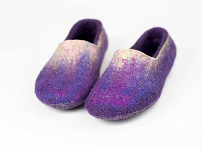 d5127aeff5c Purple ombre felted wool slippers for women