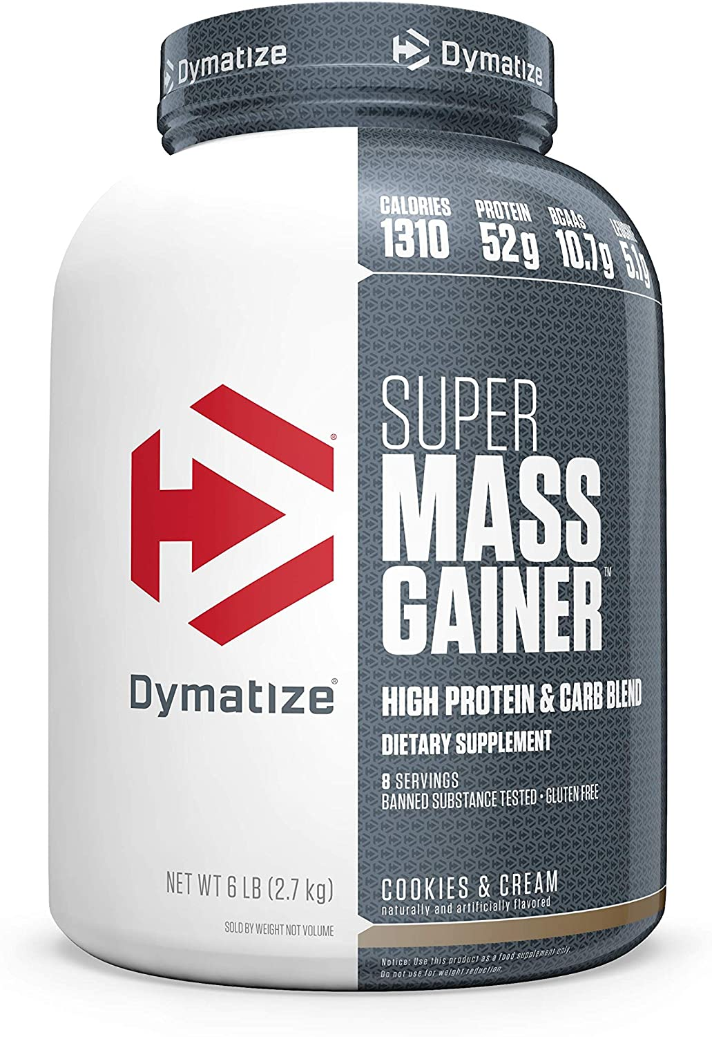 Dymatize Super Mass Gainer Protein Powder, 1310 Calories & 52g Protein, Gain Strength & Size Quickly, 10.7g BCAAs, Mixes Easily, Tastes Delicious, Cookies & Cream, 6 lbs: Health & Personal Care