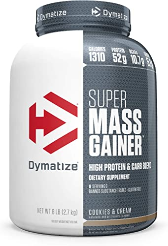 Dymatize Super Mass Gainer Protein Powder, 1310 Calories 52g Protein, Gain Strength Size Quickly, 10.7g BCAAs, Mixes Easily, Tastes Delicious, Cookies Cream, 6 lbs