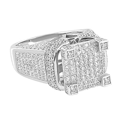 Wedding Engagement Ring Iced Out Pave Set Sterling Silver Lab