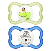MAM Sensitive Skin Pacifiers, Baby Pacifier 6+ Months, Best Pacifier for Breastfed Babies,  Air  Design Collection, Boy, 2-Count