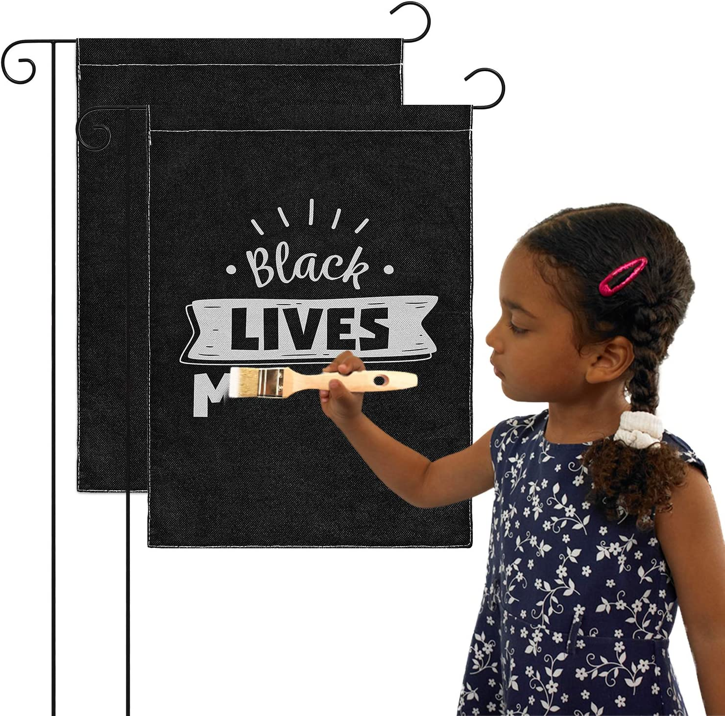 WATINC 2Pcs Blank Garden Flags Burlap DIY Personalized House Flag Double Sided Black Yard Decorations Welcome Seasonal Lawn Sign for Peace Protest Procession Party Indoor Outdoor 12.6 x 18.1 Inch