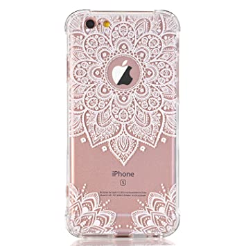 newest fbf89 f2dc3 iPhone 7 Case,iPhone 8 Case, LUOLNH White Henna Mandala Transparent Clear  Design TPU Bumper Protective ShockproofBack Case Cover for iPhone 7 /8 (4.7  ...
