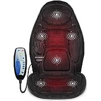 Cojín de espuma viscoelástica para masaje, de Snailax. Masajeador de espalda con calor, 6 nodos de masaje de vibración y 3 almohadillas de calefacción, almohadilla para silla de masaje para silla de oficina o asiento de coche