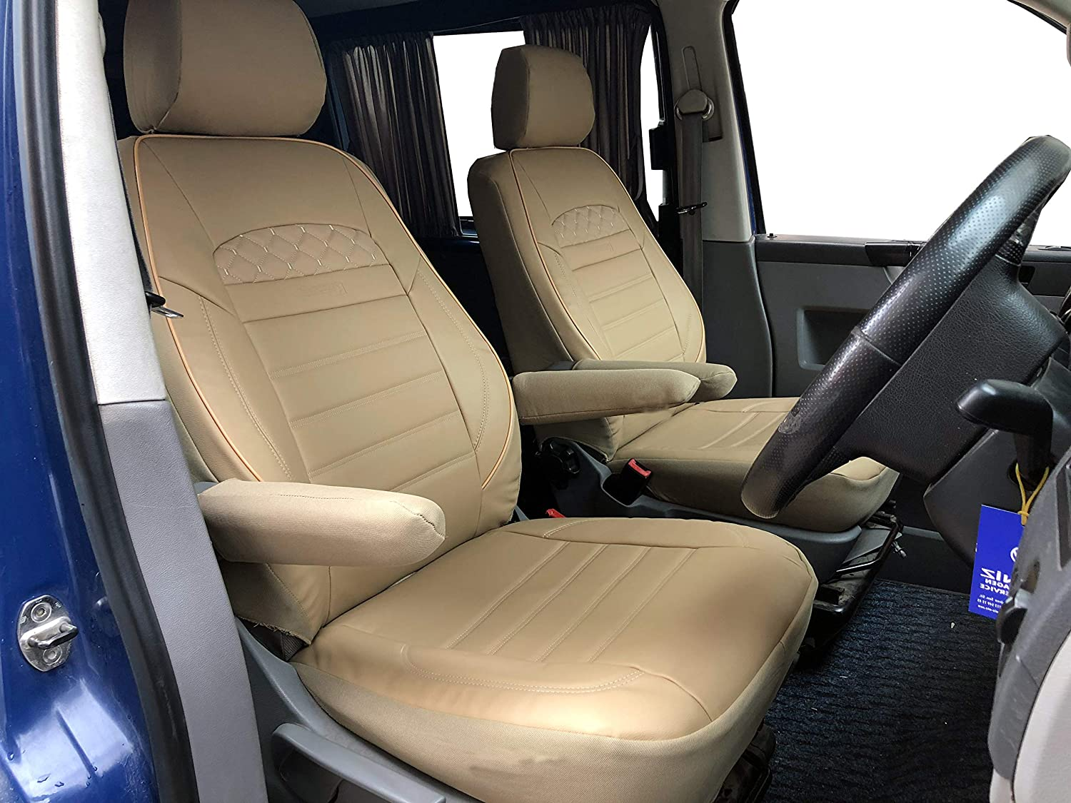 K-maniac seat covers driver and passenger seat armrests design T73 beige automotive protectors leatherette pu pvc leather