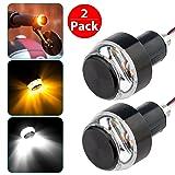 LinkStyle Motorcycle Turn Signal Light Grip Bar Plug Strobe Side Marker End LED Handlebar Black 2-Pack