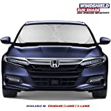 "MiDU&Co Windshield Sun Shade - True 210T Ultra Reflective Fabric for Maximum UV and Sun Protection - Windshield Sun Visor - Foldable Sunshade for Car - Easy-Read Size Chart Standard (59"" x 29"")"