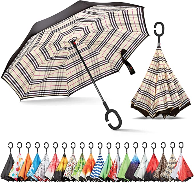 Tie Dye Pattern Double Layer Windproof UV Protection Reverse Umbrella With C-Shaped Handle Upside-Down Inverted Umbrella For Car Rain Outdoor