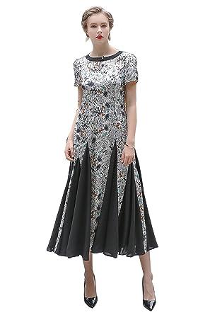 936fcdeb52cf7 VOA Women s Grey Short Sleeve Cocktail Midi Silk Dress Buttyfle ...