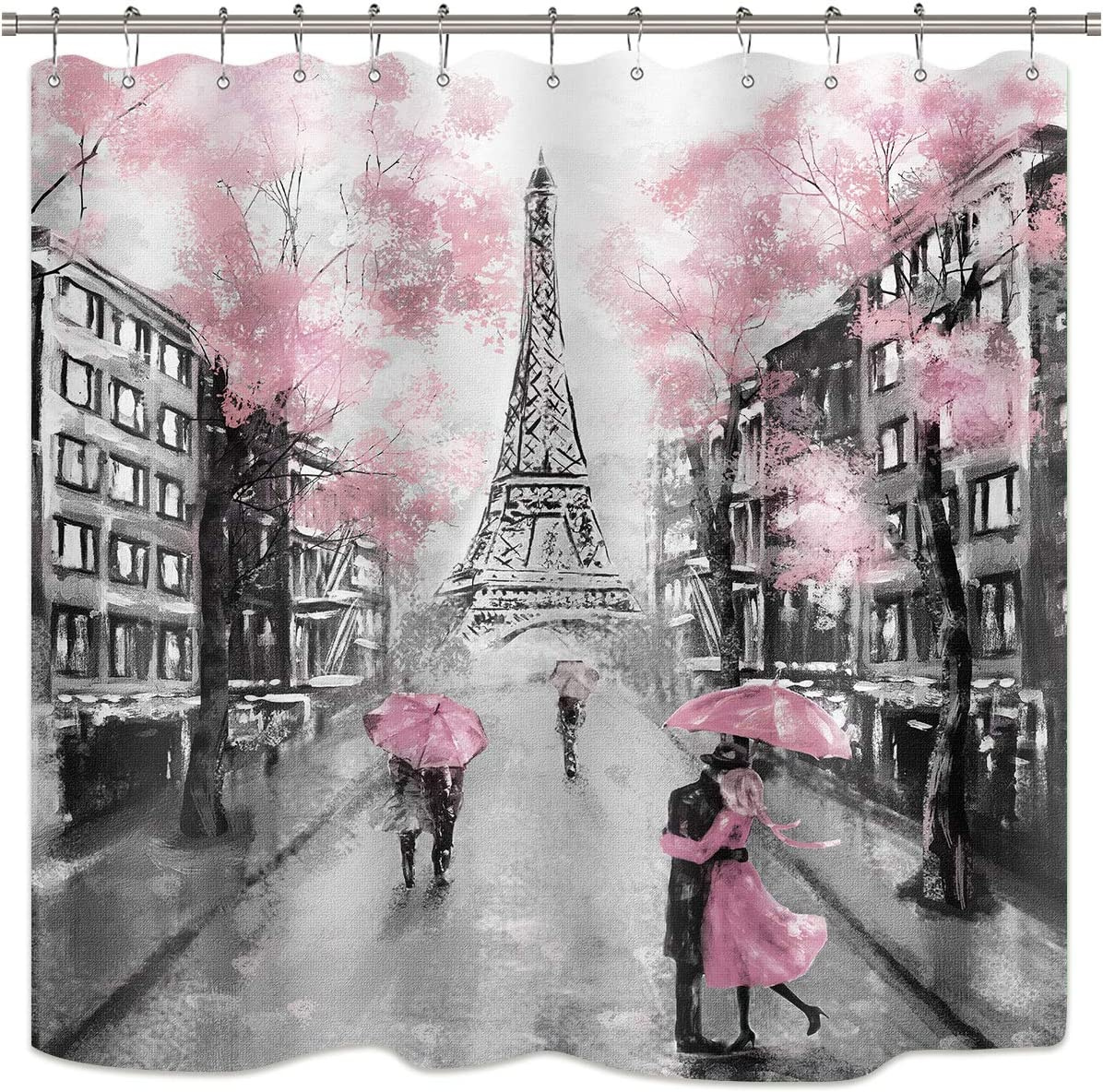 Riyidecor Oil Painting Paris Shower Curtain European City Landscape France Eiffel Tower Modern Couple Black Pink Fabric Waterproof Bathroom Home Decor Set 72Wx72H Inch 12 Plastic Hooks