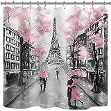 Riyidecor Oil Painting Paris Shower Curtain European City Landscape France Eiffel Tower Modern Couple Black Pink Fabric…