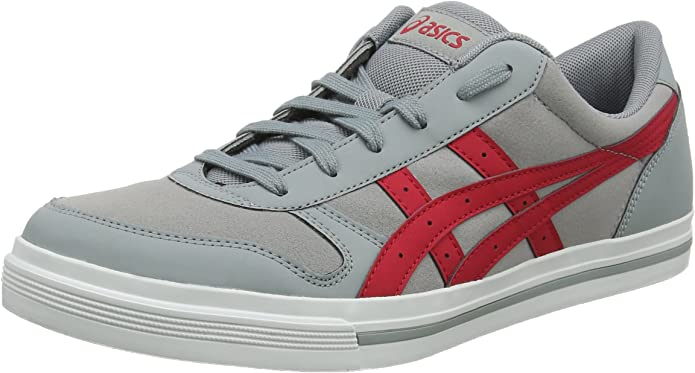 ASICS Aaron Sneakers Damen Herren Unisex Grau/Rot (Stone Grey/Samba) Größe 36-49