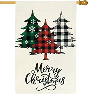 Unves Merry Christmas Garden Flag 28 x 40 Inches, Double Sided Christmas House Flag Buffalo Check Plaid Tree Christmas Flag Vertical Burlap for Yard Outdoor Christmas Decoration