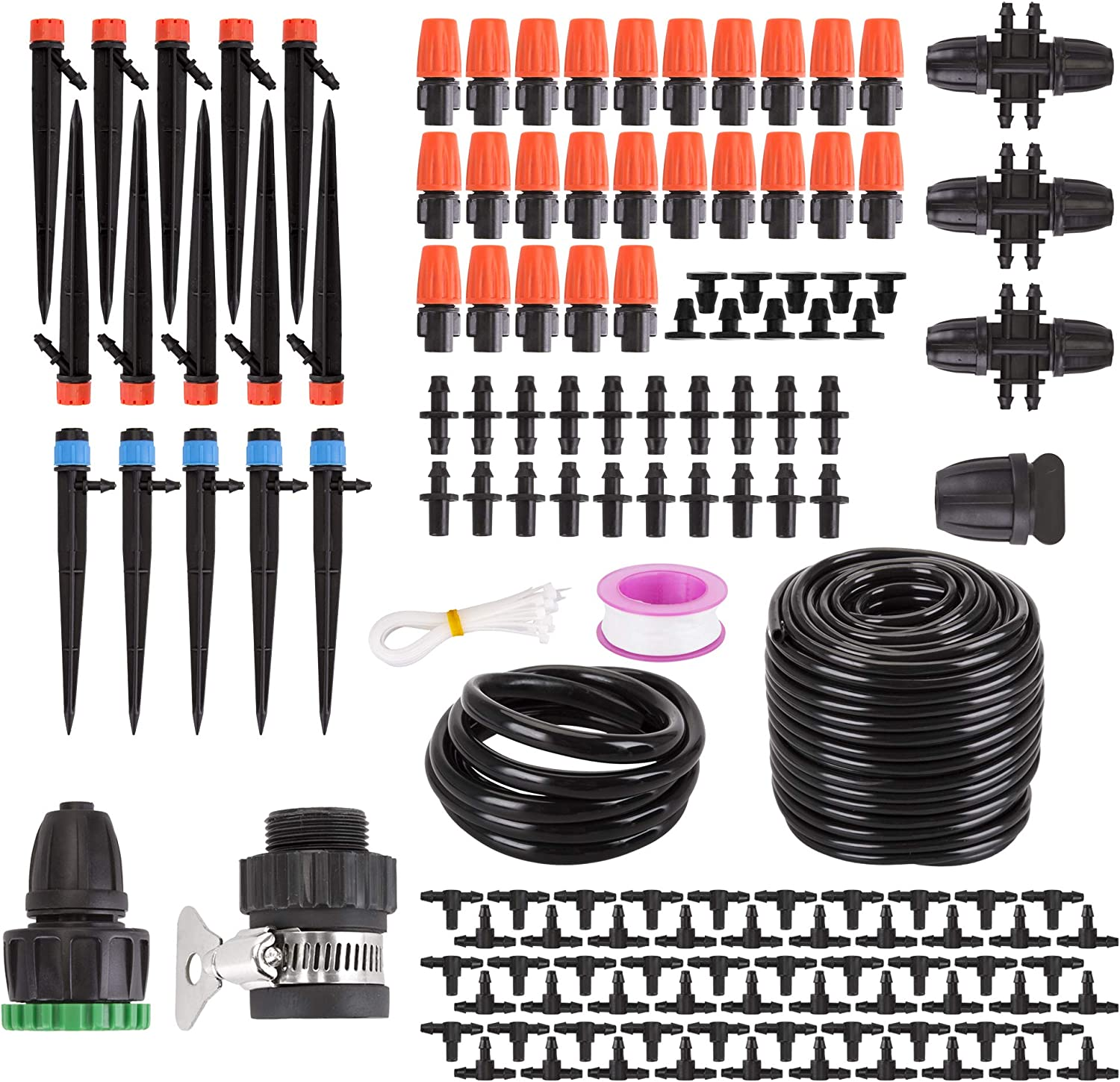 """XOOL Drip Irrigation Kit, 137ft/42M Garden Irrigation System, Adjustable Automatic Micro Irrigation Kits,1/4"""" Blank Distribution Tubing Hose Suit for Garden Greenhouse, Flower Bed,Patio,Lawn (42M)"""