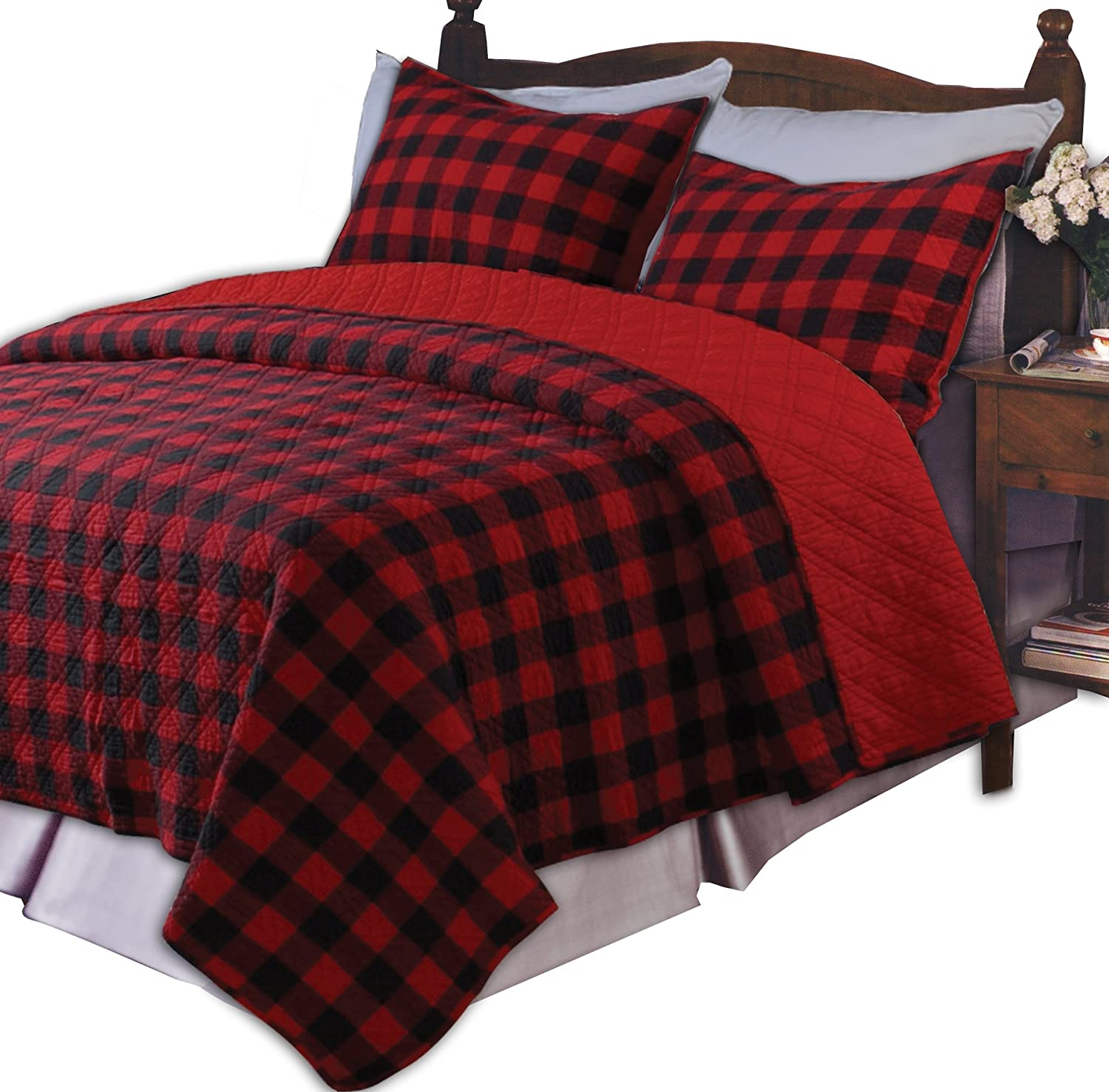 Greenland Home Western Plaid Twin Quilt Set, Red