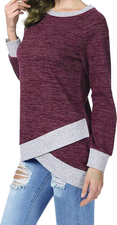 Odosalii Damen Langarm Patchwork Sweatshirt Pullover Casual T-Shirt Asymmetrisch Saum Tunika Tops