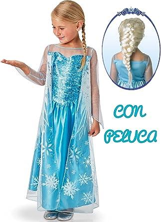Disfraz de Elsa con Peluca - Niña, de 3 a 4 años: Amazon.es: Ropa ...