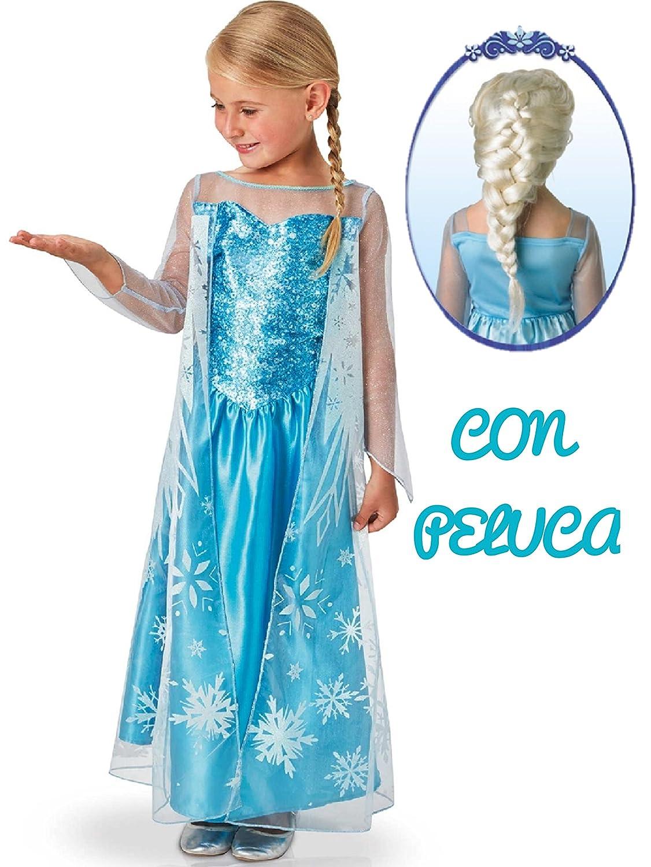 Disfraz de Elsa con Peluca - Niña, de 7 a 9 años: Amazon.es: Ropa y accesorios