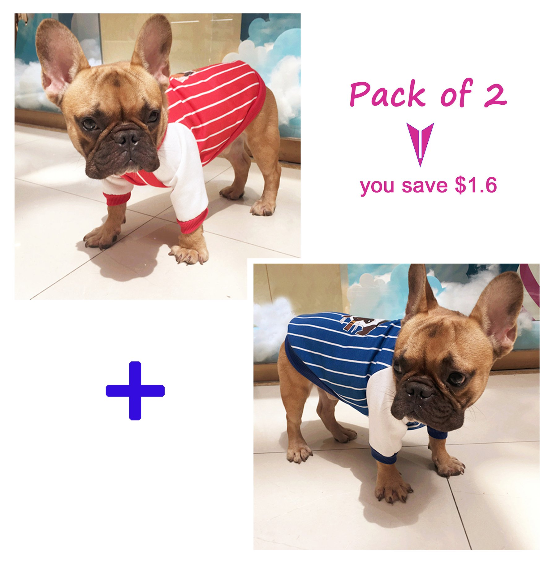 Dog Jacket,Rdc Pet Apparel,Autumn Dog Hoodie Sweater, Cotton Jumper Coat for Small Dog Medium Dog Fat Dog Bulldog Cat (XXL, Blue+Red)