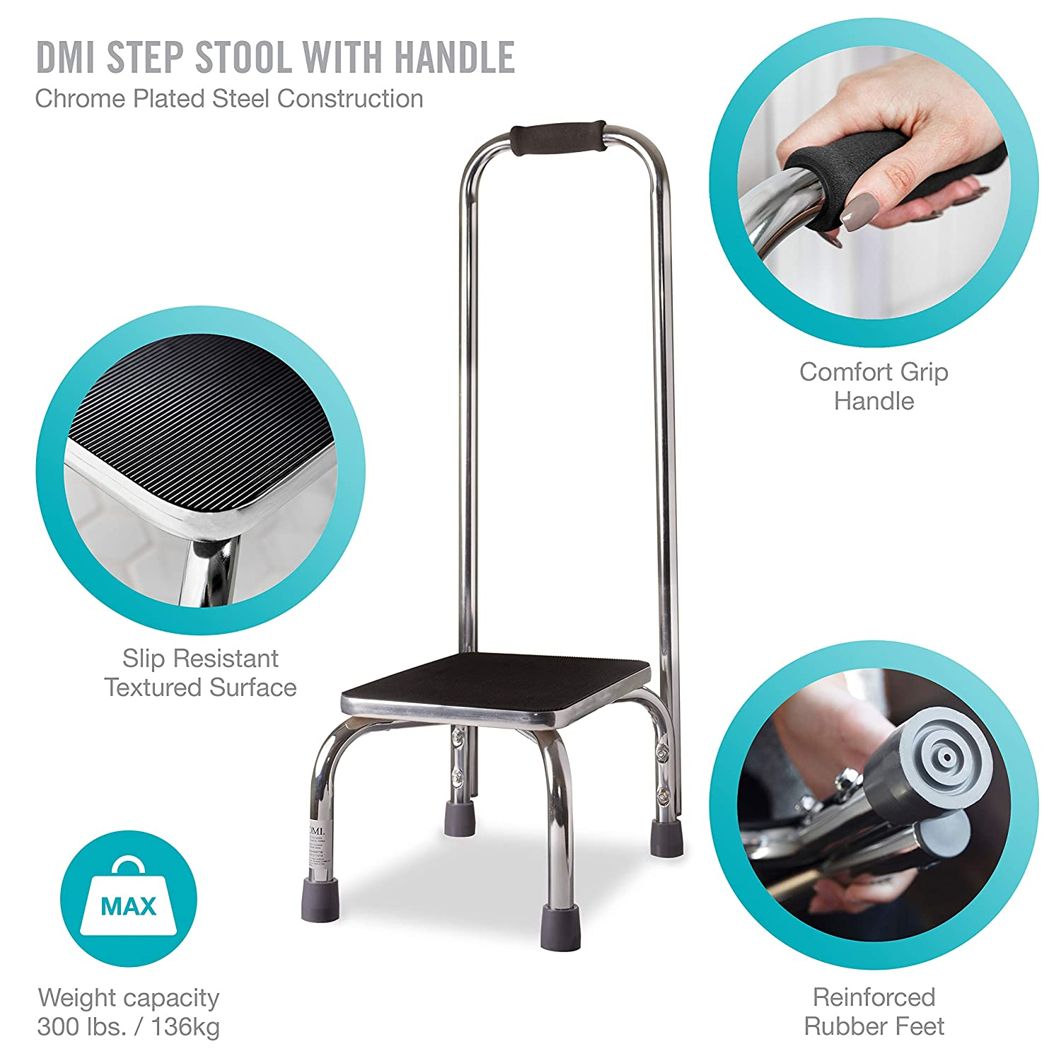 Super Dmi Step Stool With Handle For Adults And Seniors Heavy Duty Metal Stepping Stool For High Beds Portable Foot Step Stool For Elderly 300 Lb Weight Ocoug Best Dining Table And Chair Ideas Images Ocougorg