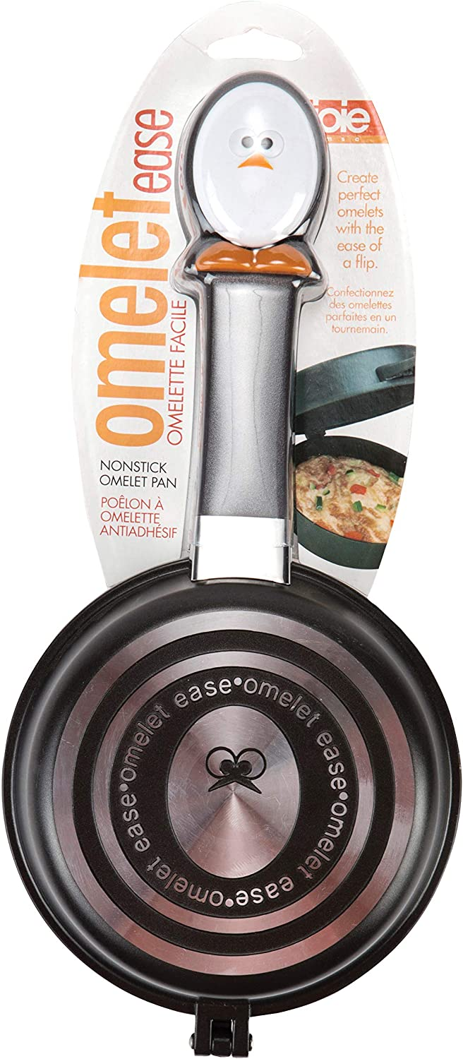 MSC International 50153 Joie Whisky Egg Non-Stick Double Sided Omelette Pan, Silver, Small, Black