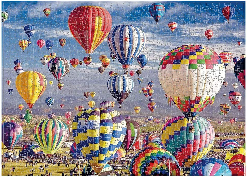 Thick Friends Recycled Cardboard Material with Guide Markings Relaxing Landscape Scenery for Adults Boxgear 1000-Piece Hot Air Balloon Jigsaw Puzzle Colorful Families 27.56 x 19.69