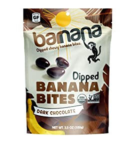 Barnana Organic Dark Chocolate Chewy Banana Bites - 3.5 Ounce, 12 Pack Bites - Delicious Coated Potassium Rich Banana Snacks - Lunch Dinner Sports Hiking Natural Snack - Whole 30, Paleo, Vegetarian
