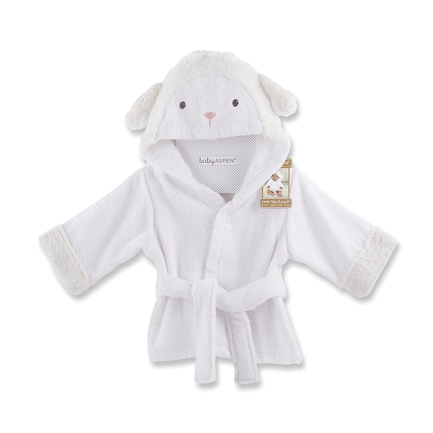 Baby Aspen Hooded Cat Robe with Ears Terry Cloth White and Floral Baby Bath Towel