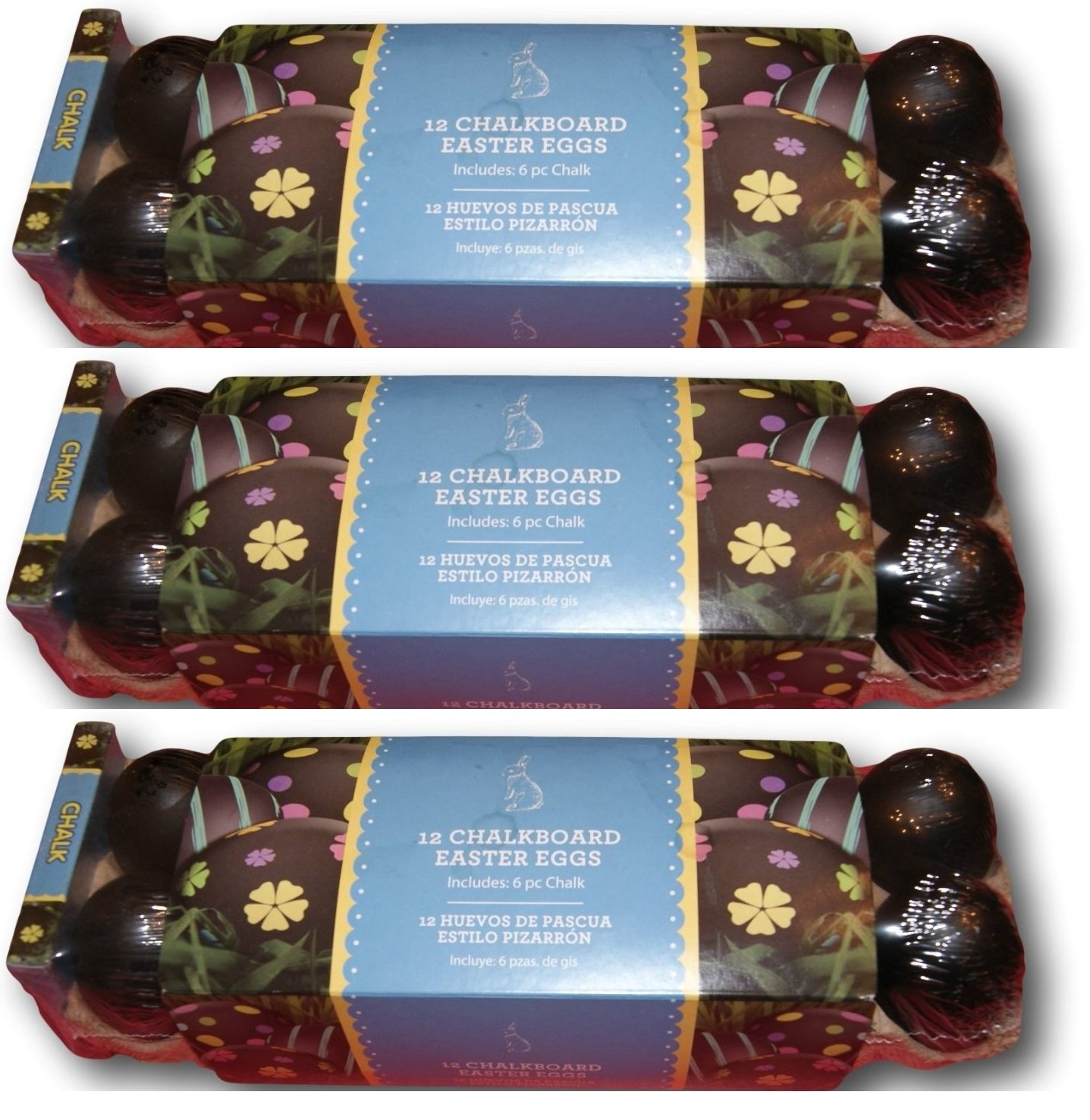 3 pack of 12 Chalk Board Black Non Fillable Plastic Easter Eggs with Chalk by Walmart (Image #1)