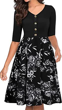 Lamilus Women's Vintage Patchwork V-Neck Floral Flared Button A-Line Swing Casual Work Dress with Pockets