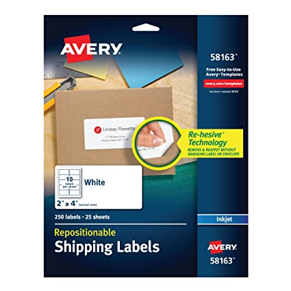 avery repositionable shipping labels for inkjet printers 2 x 4