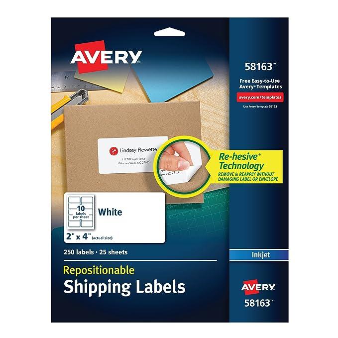 Avery® repositionable white inkjet shipping labels | staples.