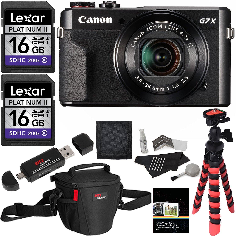 Canon PowerShot G7 X Mark II Camera, Ritz Gear Case, Ritz Gear Tripod, Lexar 16GB 200x 2 Pack, Polaroid Cleaning Kit, Card Reader, Screen Protector, Memory Card Wallet and Accessory Bundle