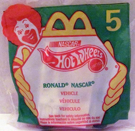 Amazon.com: McDonalds - NASCAR HOT WHEELS #5 - Ronald with Stickers, 1998: Toys & Games