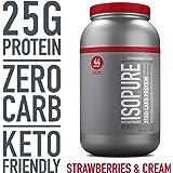 Isopure Zero Carb Protein Powder, 100% Whey Protein Isolate, Gluten Free / Lactose Free, Keto Friendly, Flavor: Strawberries & Cream, 3 Pounds