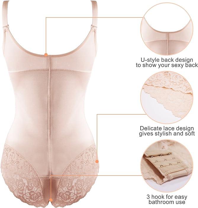 4bf04048b5 ... SHAPERX Women Seamless Firm Control Shapewear Faja Open Bust Bodysuit  Body Shaper ...