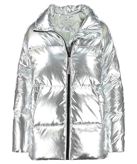 7acd1cc68b0e64 Tommy Hilfiger Icon High Gloss Puffer Jacket Medium Silver  Amazon.co.uk   Clothing