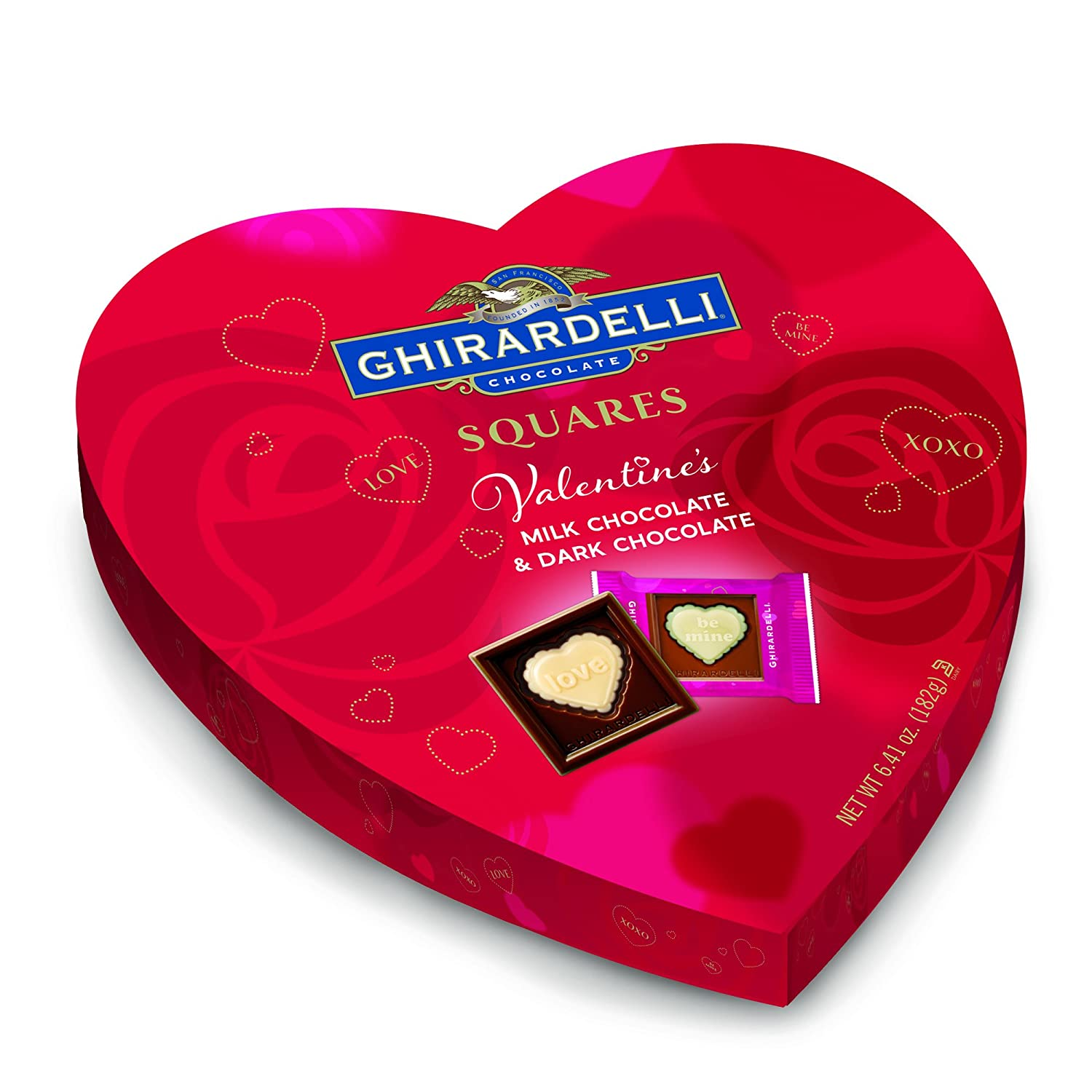Amazon.com : Ghirardelli Valentines Day Heart Gift, Milk Chocolate ...